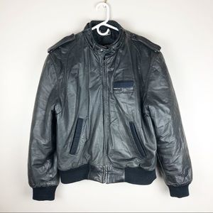 Vintage Members Only Black Leather Bomber Jacket